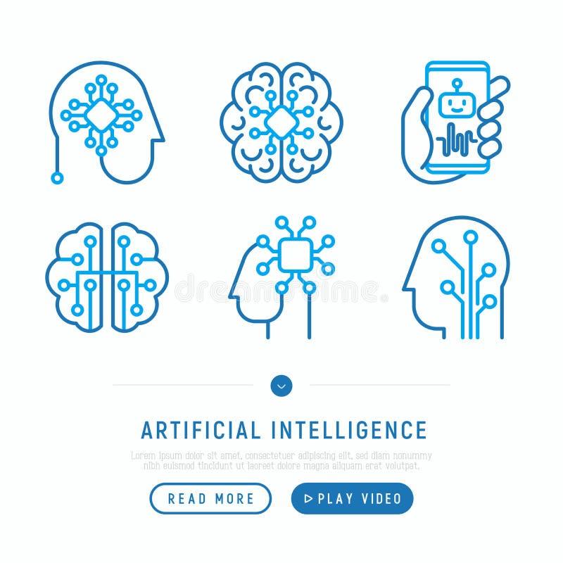 Línea fina iconos de la inteligencia artificial fijados stock de ilustración