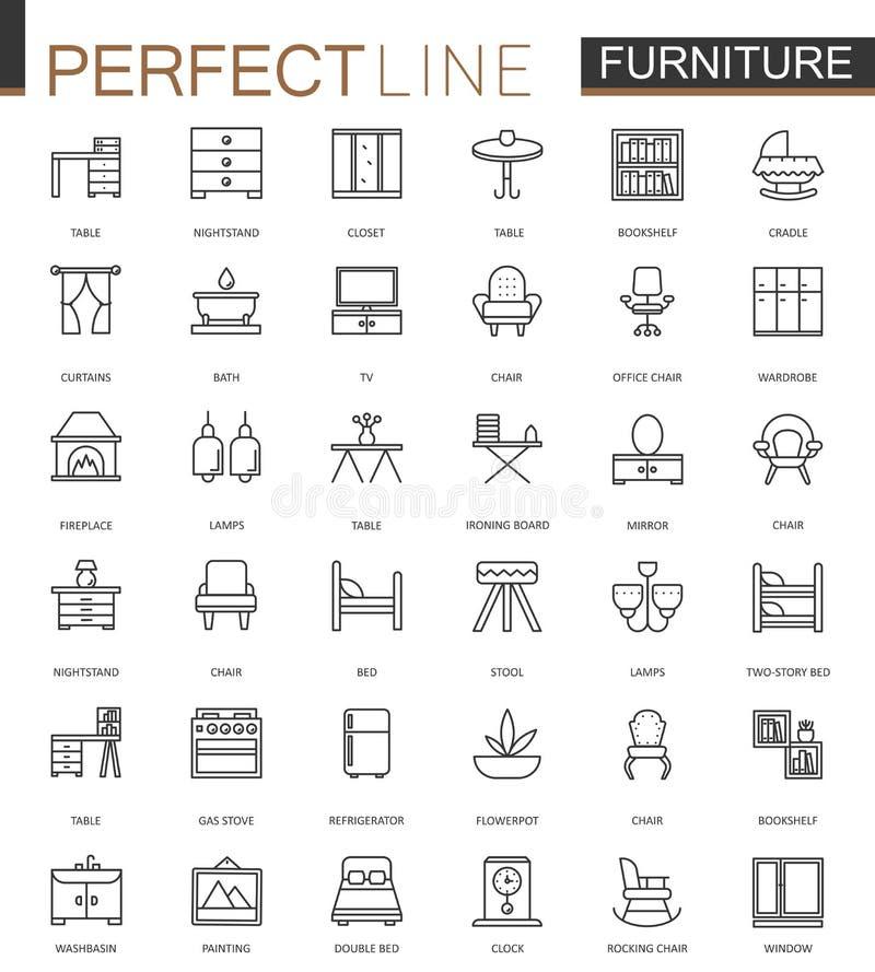 Línea fina iconos de los muebles del web fijados Diseño del icono del movimiento del esquema ilustración del vector