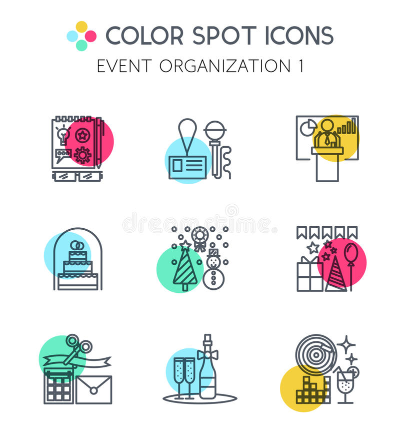 Línea fina iconos de organización de los eventos libre illustration