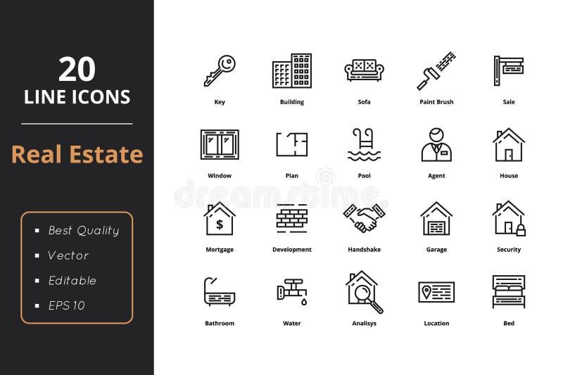 20 línea fina iconos de Real Estate stock de ilustración