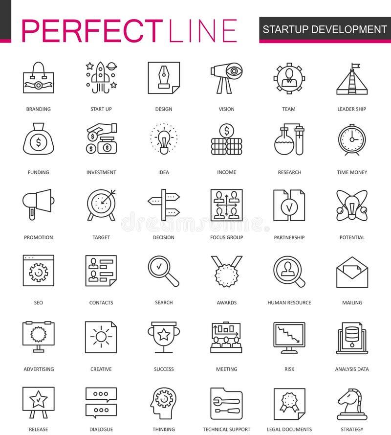 Línea fina iconos del arranque y del desarrollo del web fijados Diseño moderno de los iconos del movimiento del esquema del negoc ilustración del vector