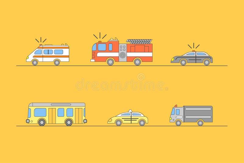 Línea fina iconos del coche colorido fijados Vector ilustración del vector