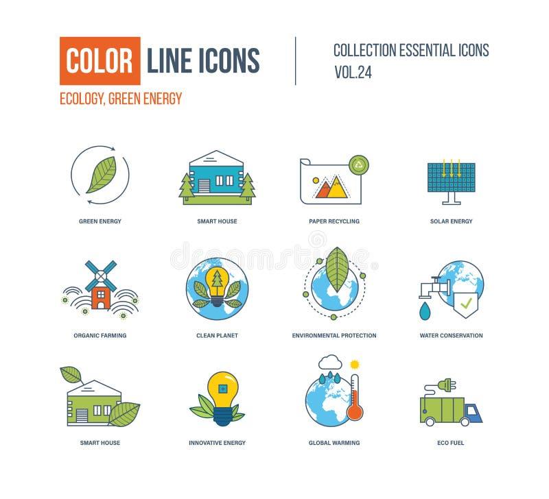 Línea fina iconos del color fijados Ecología, energía verde, casa elegante, stock de ilustración