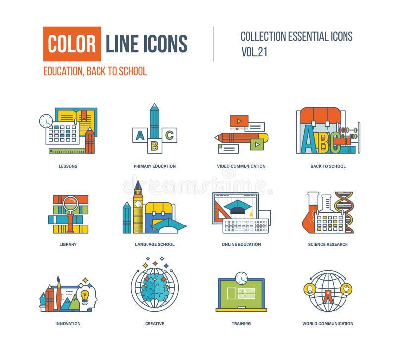 Línea fina iconos del color fijados Educación primaria, de nuevo a escuela stock de ilustración