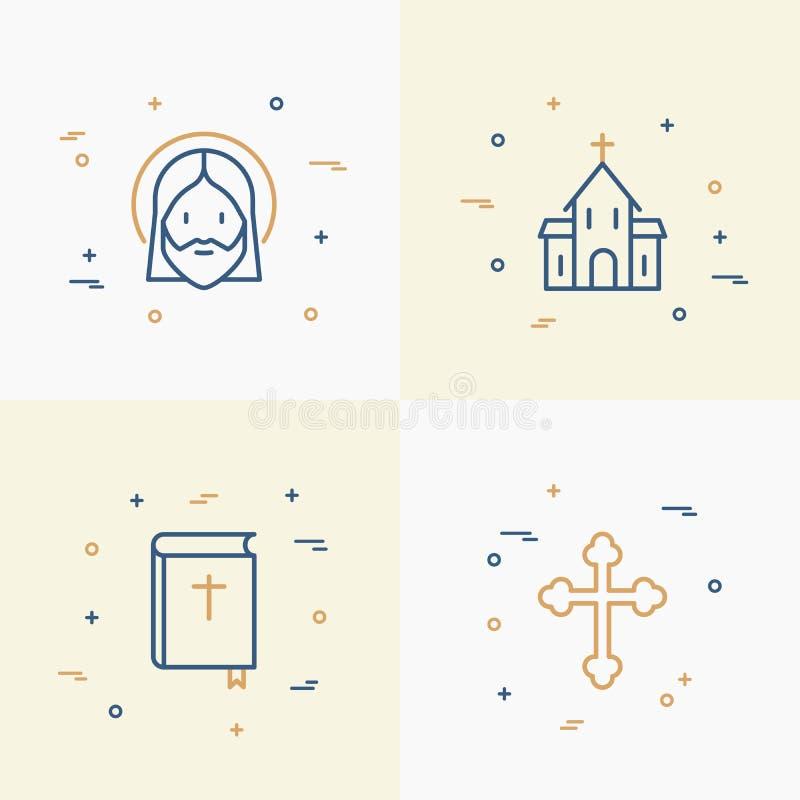 Línea fina iconos del cristianismo fijados libre illustration