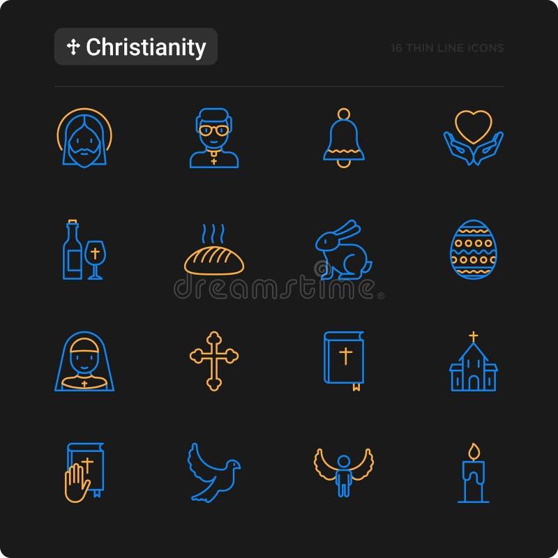Línea fina iconos del cristianismo fijados ilustración del vector