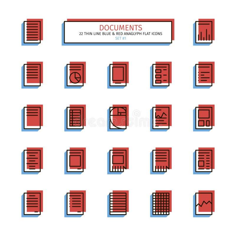 Línea fina iconos del estilo del anáglifo Documentos libre illustration