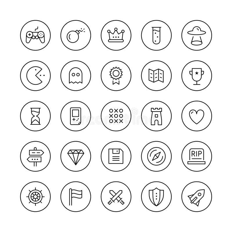 Línea fina iconos del juego clásico fijados ilustración del vector