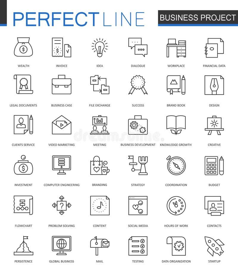 Línea fina iconos del proyecto del negocio del web fijados Diseño del icono del movimiento del esquema de la gestión de estrategi stock de ilustración
