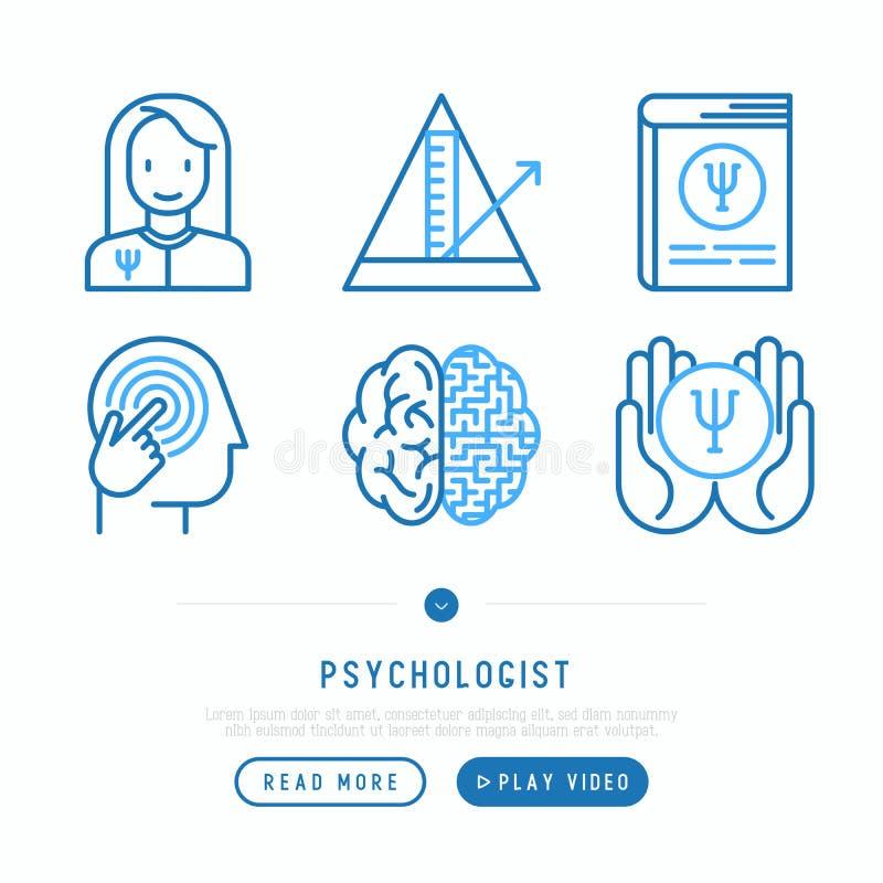 Línea fina iconos del psicólogo fijados ilustración del vector