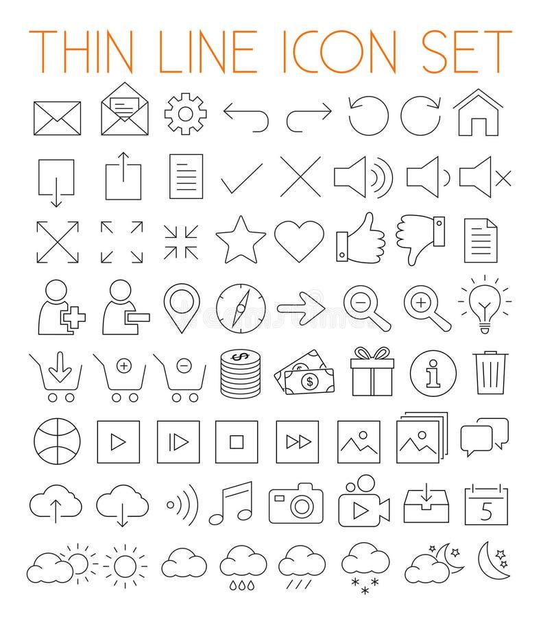 Línea fina iconos del vector ilustración del vector