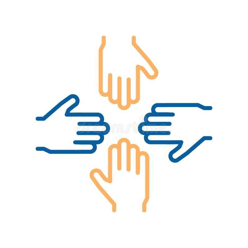 Línea fina iconos del vector con 4 manos El diseño de concepto para el trabajo en equipo, éxito, caridad, negocio, se ofrece volu ilustración del vector