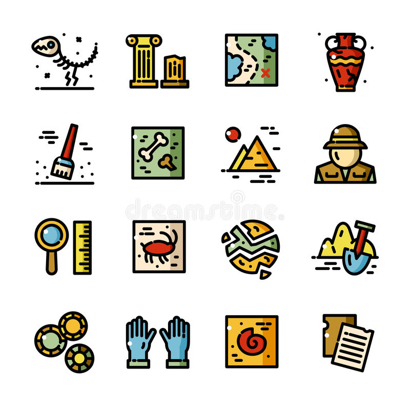 Línea fina iconos del vector de la arqueología fijados stock de ilustración