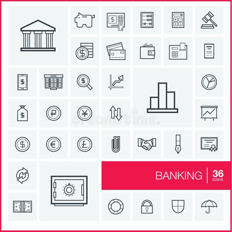 Línea fina iconos del vector fijados banking