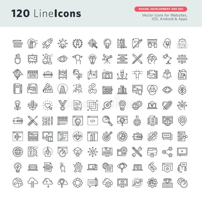 Línea fina iconos del vector superior fijados para el diseño gráfico, el diseño y el desarrollo, desarrollo del app, seo del siti ilustración del vector