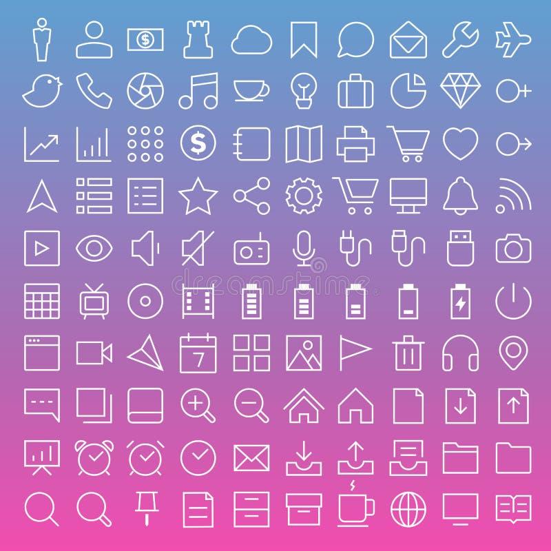 Línea fina iconos fijados ilustración del vector