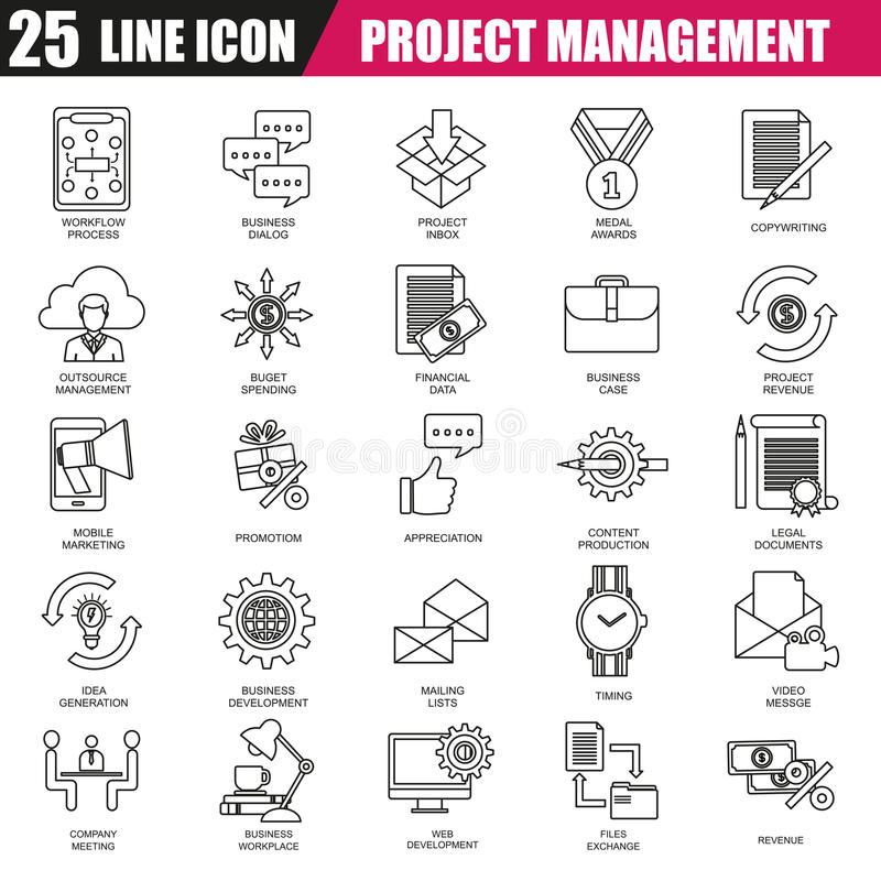 Línea fina iconos fijados de la gestión del proyecto ilustración del vector