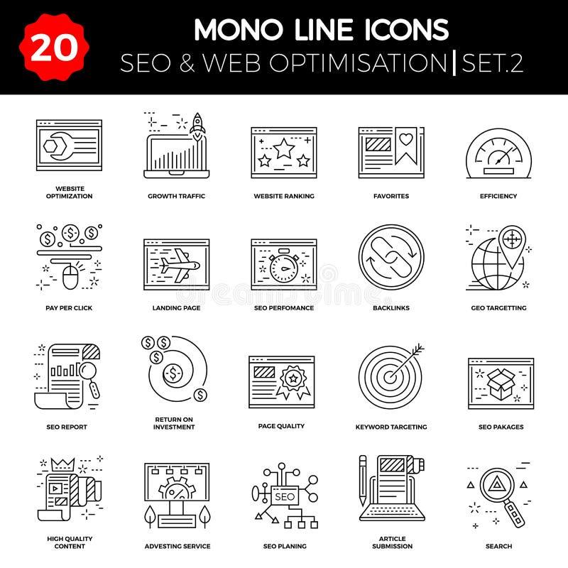 Línea fina iconos fijados de la optimización del Search Engine stock de ilustración