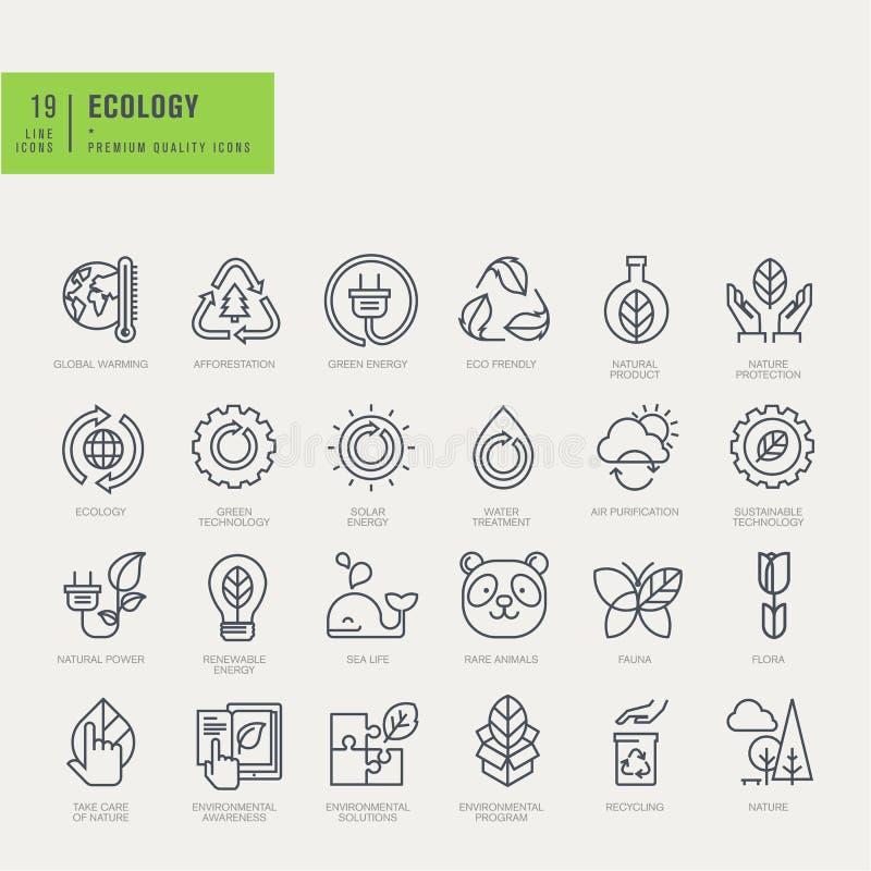 Línea fina iconos fijados Iconos para ambiental stock de ilustración
