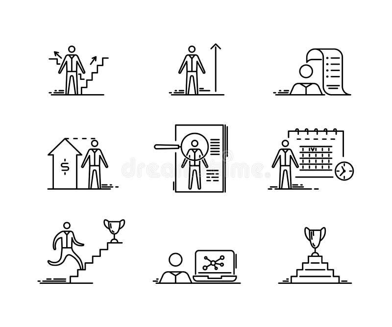 Línea fina iconos fijados Los hombres de negocios del crecimiento del desarrollo que busca finanzas y inicio resumen símbolo del  ilustración del vector