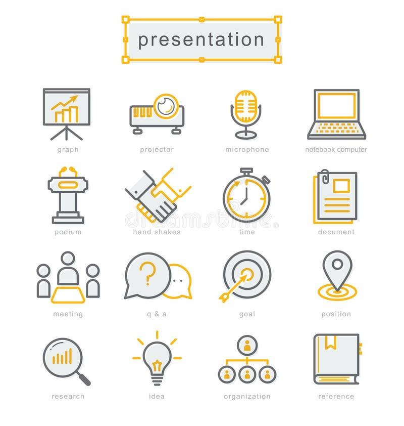 Línea fina iconos fijados, presentación del negocio stock de ilustración