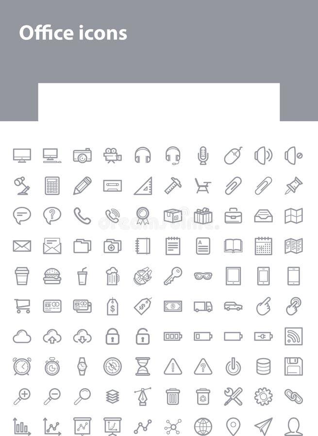 Línea fina iconos grises de la oficina ilustración del vector