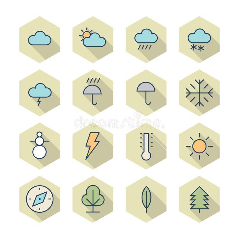 Línea fina iconos para el tiempo y la naturaleza stock de ilustración
