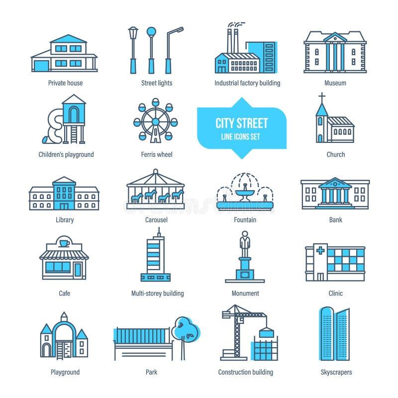 Línea fina iconos, pictograma, sistema de la calle de la ciudad de símbolo Edificios, arquitectura libre illustration