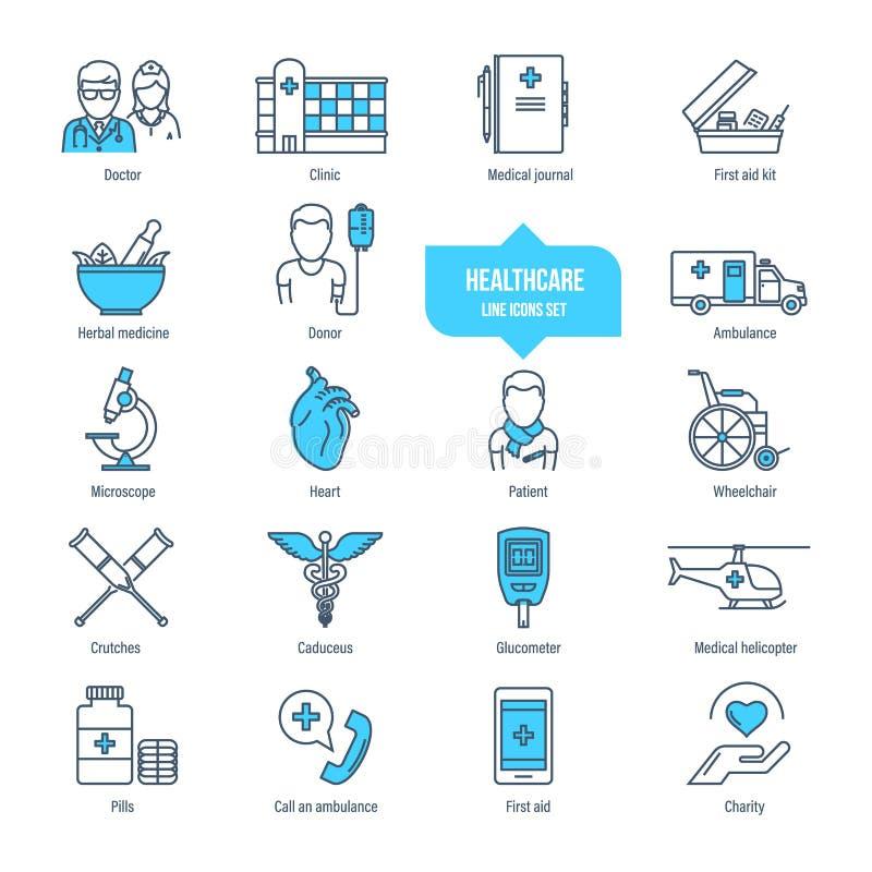 Línea fina iconos, pictograma y sistema de la atención sanitaria de símbolo Ambulancia, farmacología ilustración del vector