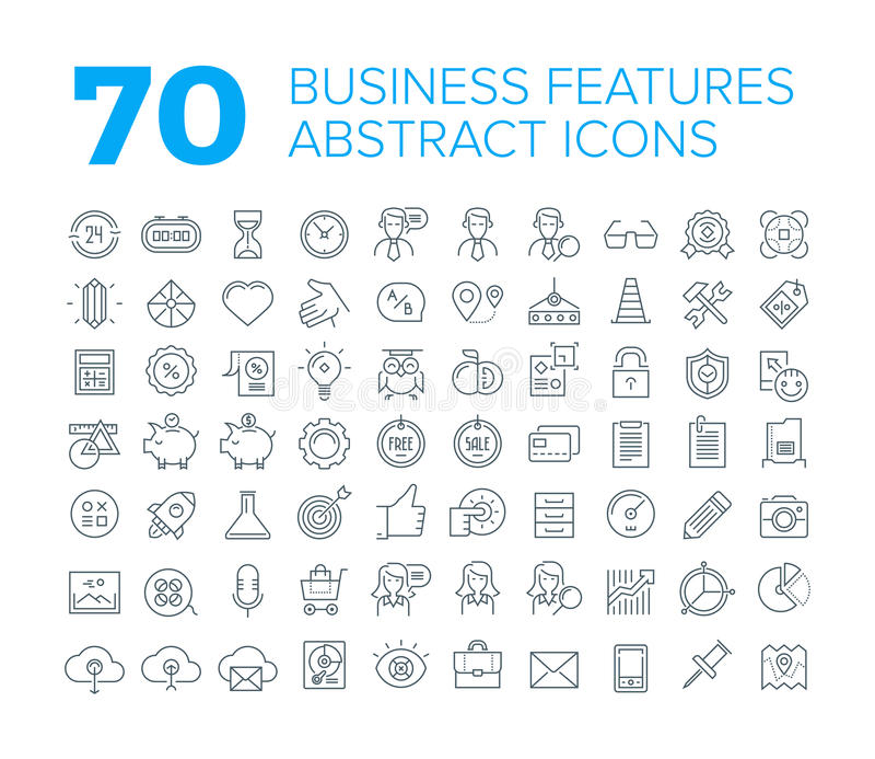 70 línea fina iconos universales del negocio ilustración del vector