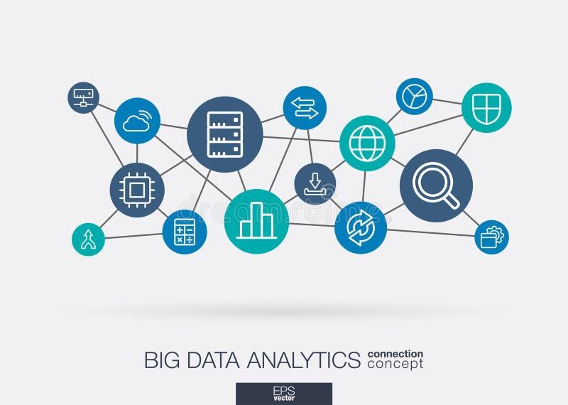 Línea fina integrada iconos de los datos grandes Concepto de la red neuronal de Digitaces stock de ilustración