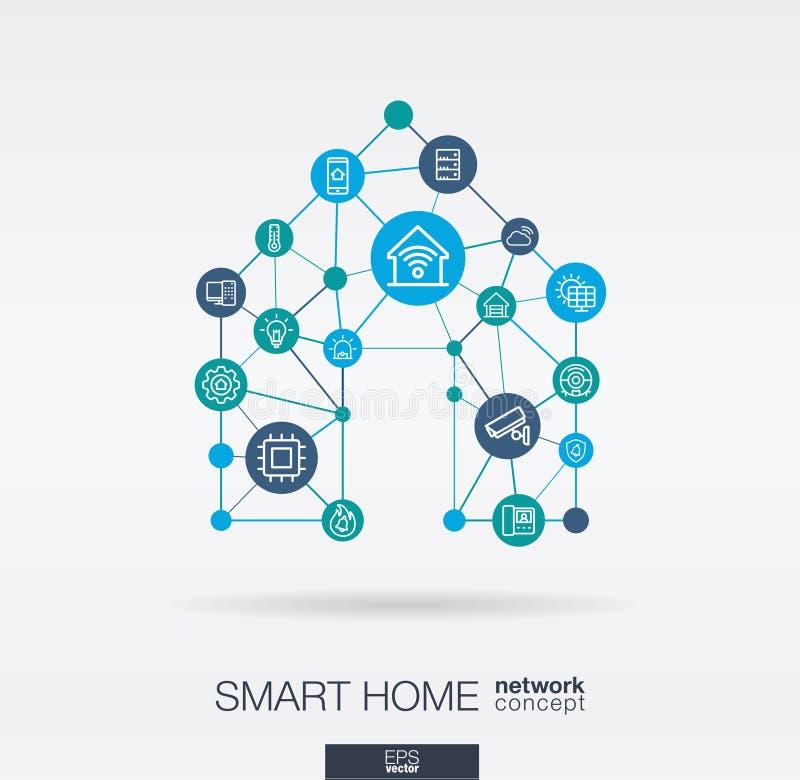 Línea fina integrada iconos del hogar elegante Concepto de la red neuronal de Digitaces stock de ilustración