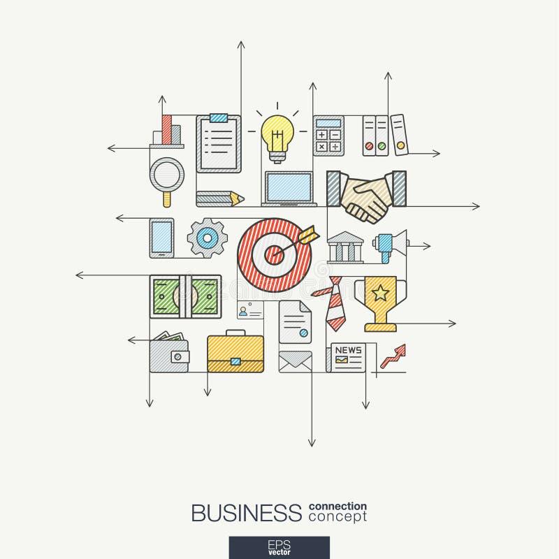 Línea fina integrada símbolos del negocio Concepto moderno del vector del estilo del color libre illustration