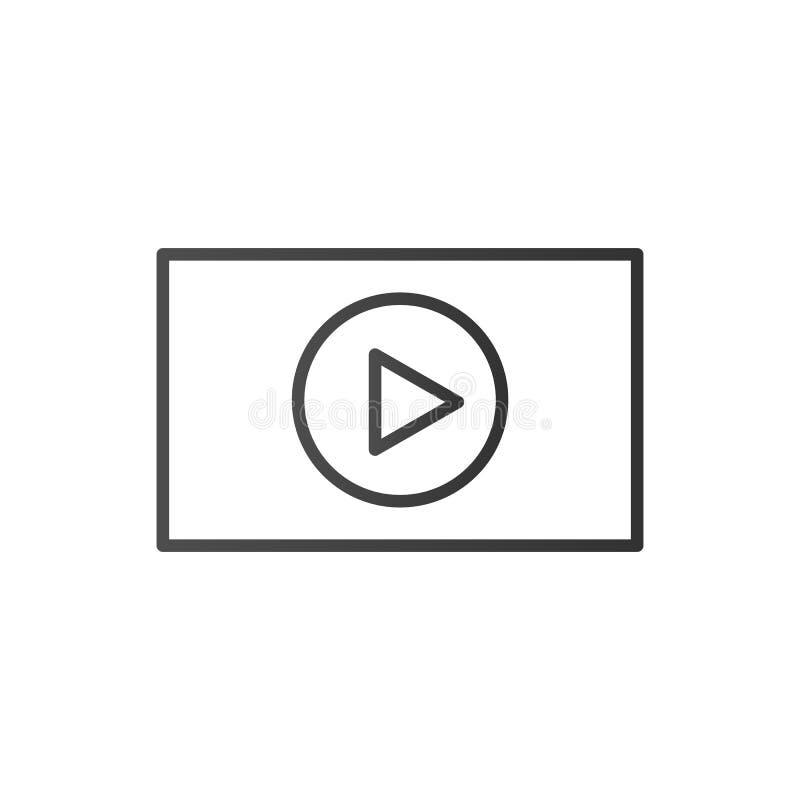 Línea fina interfaz del vídeo concepto de comercio electrónico, podcast, barra de estado, seo, aprendiendo, conferencia, ui, prom ilustración del vector