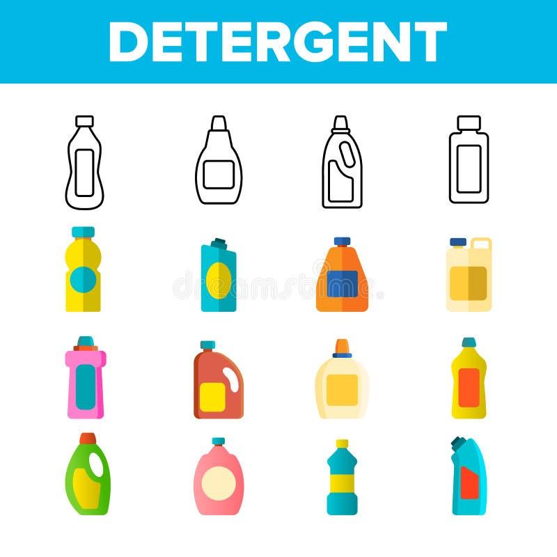 L?nea fina l?quida detergente, que se lava sistema del vector de los iconos ilustración del vector