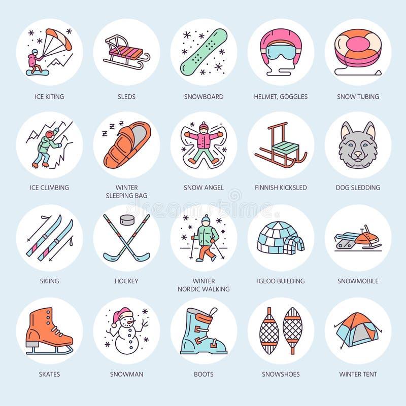 Línea fina linda iconos de deportes de invierno Elementos del vector de las actividades al aire libre - snowboard, trineo del hoc stock de ilustración