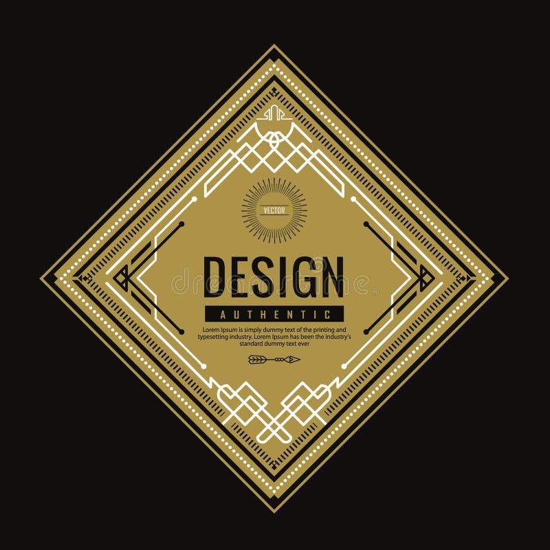 Línea fina linear diseño retro del vintage del art déco de la bandera geométrica de la forma de la etiqueta ilustración del vector