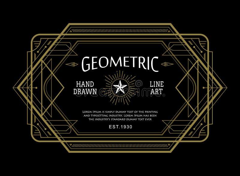 Línea fina linear diseño retro del vintage del art déco geométrico de la forma stock de ilustración