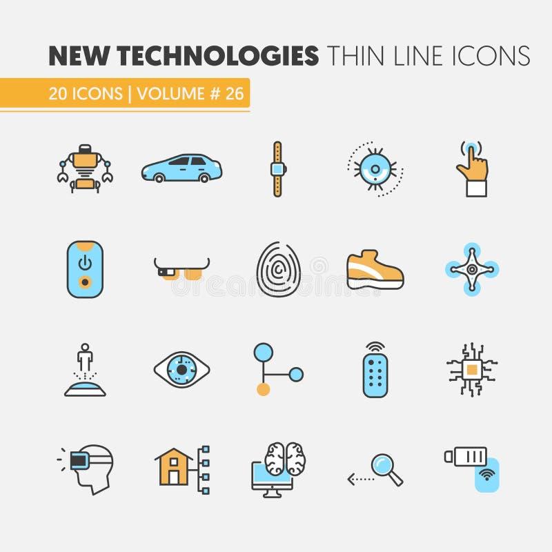 Línea fina linear iconos de las tecnologías modernas fijados con la casa elegante y Quadrocopter libre illustration