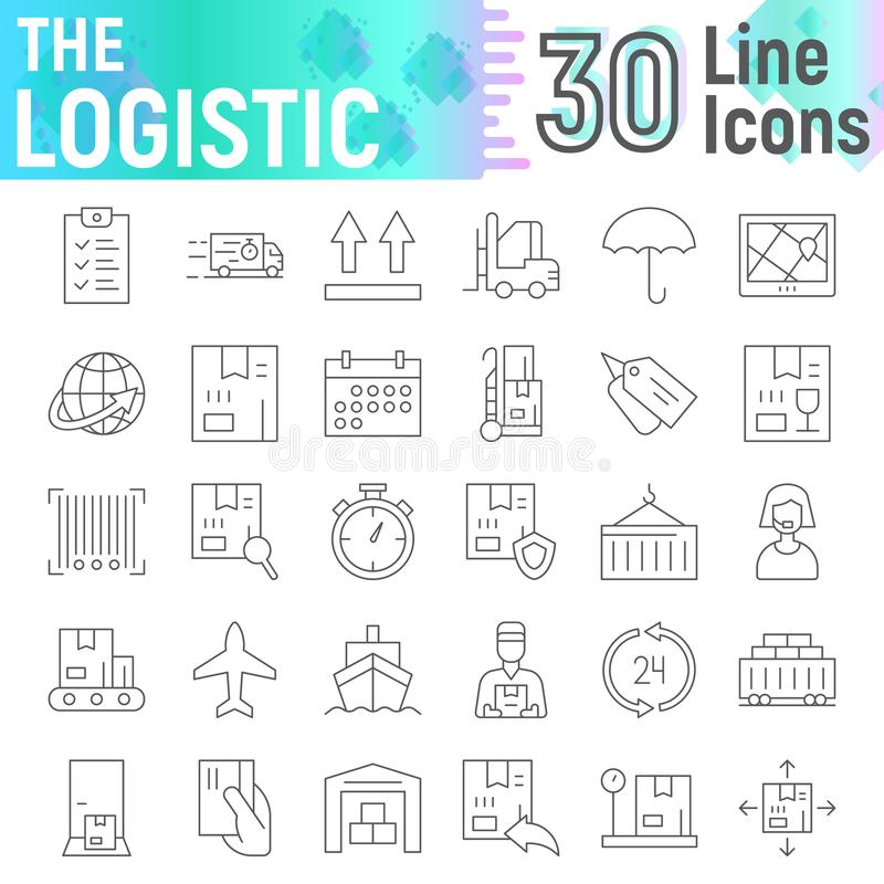 Línea fina logística sistema del icono, símbolos colección, bosquejos del vector, ejemplos del logotipo, muestras de envío de la  ilustración del vector