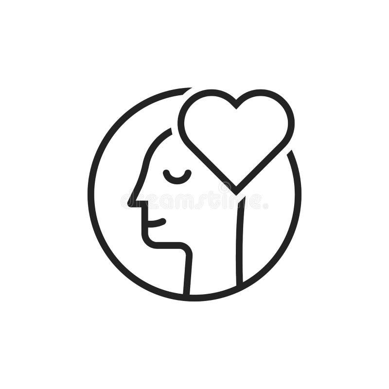 Línea fina logotipo del negro del hombre del amante stock de ilustración