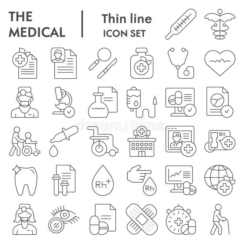 Línea fina médica sistema del icono, símbolos colección, bosquejos del vector, ejemplos del logotipo, muestras de la atención san ilustración del vector