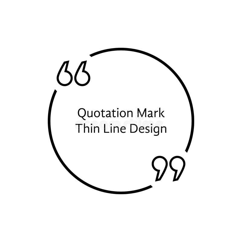 Línea fina marca de cita ilustración del vector