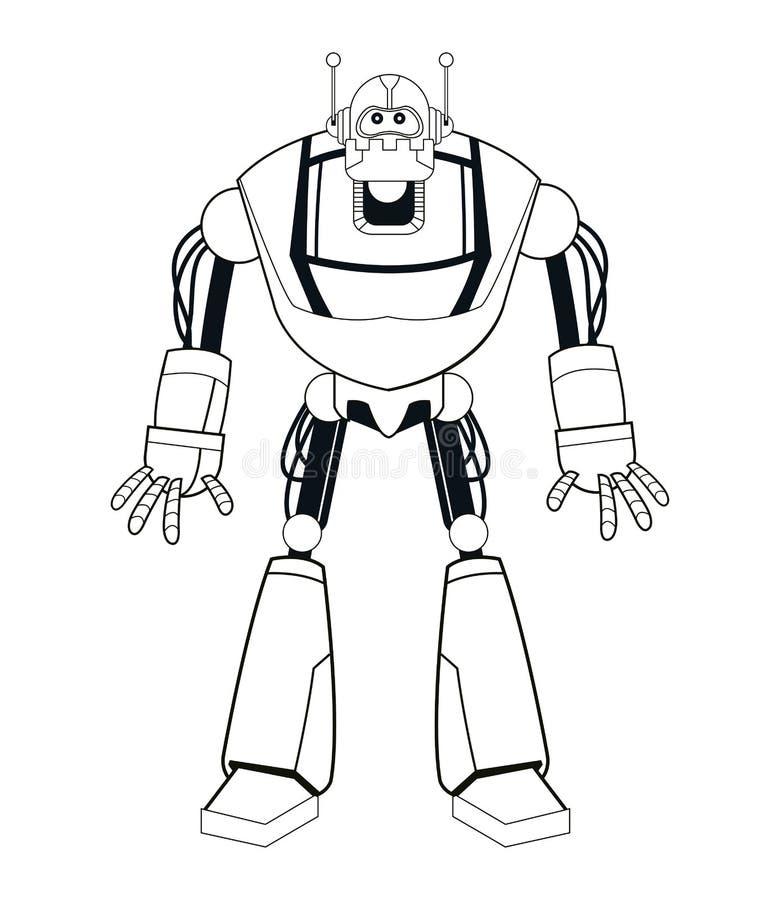 Línea fina mecánica eléctrica del robot stock de ilustración