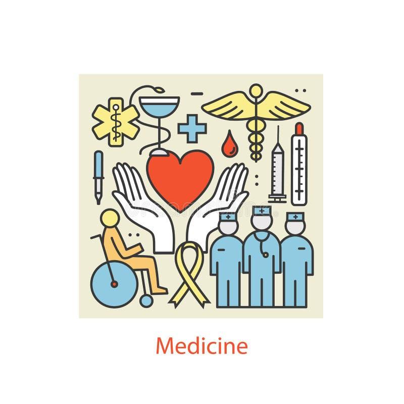 Línea fina medicina del color moderno del diseño del arte y símbolos de la salud stock de ilustración