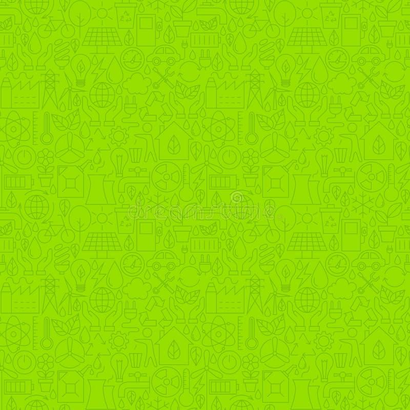 Línea fina modelo inconsútil del verde amistoso de la ecología de Eco stock de ilustración