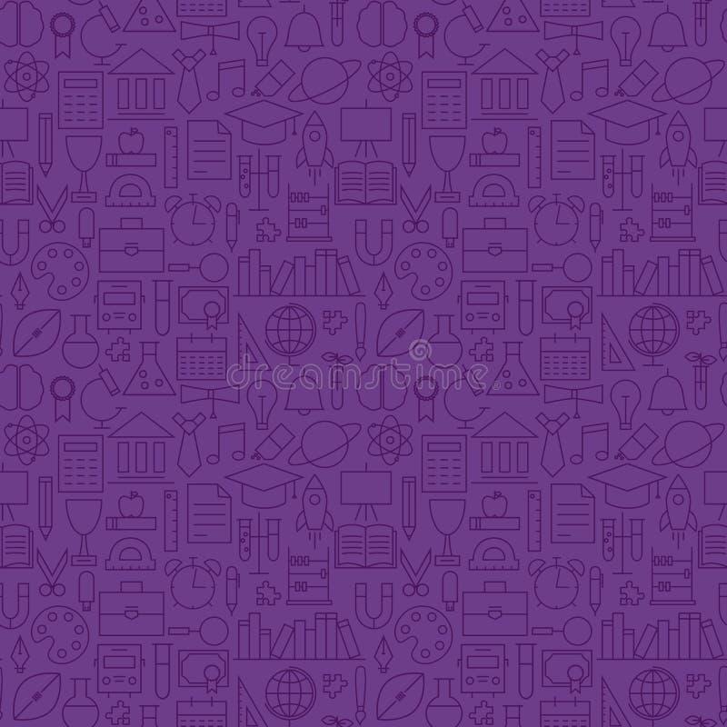 Línea fina modelo inconsútil púrpura de la escuela del conocimiento de la educación ilustración del vector