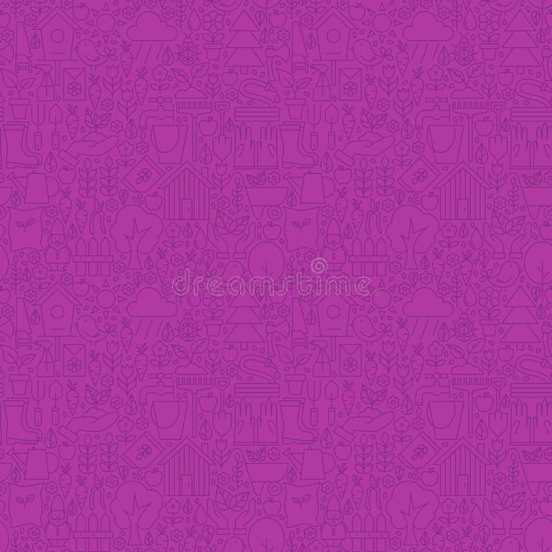 Línea fina modelo inconsútil púrpura del jardín de la naturaleza libre illustration
