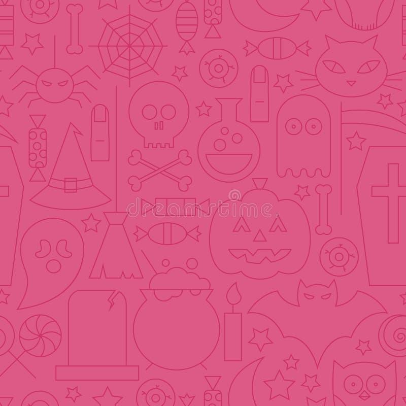 Línea fina modelo rosado inconsútil de Halloween del día de fiesta stock de ilustración