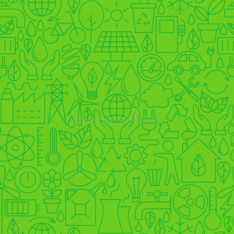 Línea fina modelo verde inconsútil del ambiente de la ecología stock de ilustración